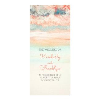 Watercolor Pink - Sea Blue Beach Wedding Programs
