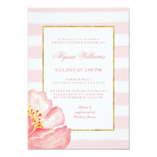 Watercolor Pink Stripes and Peony Bridal Shower Card