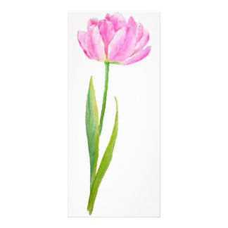 Watercolor Pink Tulip Mini Book Mark Rock Card