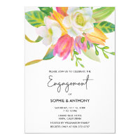 Watercolor Pink Tulip Wedding Engagement Invite