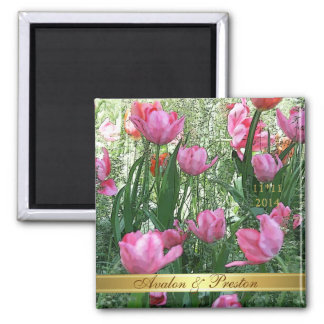 Watercolor Pink Tulips Save The Date Magnet