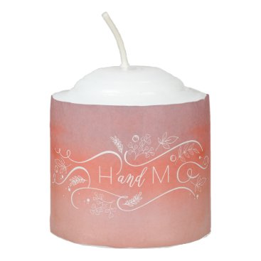 Beach Themed Watercolor Pink Typography Modern Wedding Votive Candle