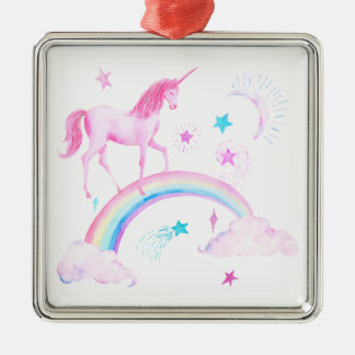 Watercolor Pink Unicorn and Rainbow Metal Ornament