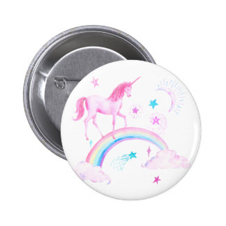 Watercolor Pink Unicorn and Rainbow Pinback Button