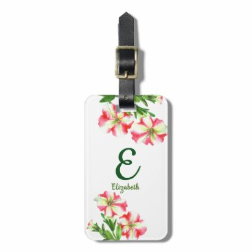 Professional Business Watercolor Pink White Petunias Floral Art Monogram Luggage Tag