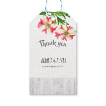Wedding Themed Watercolor Pink White Petunias Wedding Favor Tag