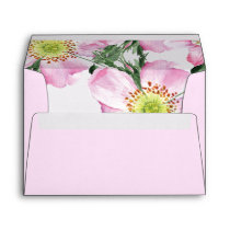Watercolor Pink Wild Roses Liner Wedding envelopes