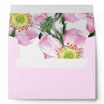 Watercolor Pink Wild Roses Liner Wedding envelopes