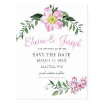 Watercolor Pink Wild Roses Save The Date Cards