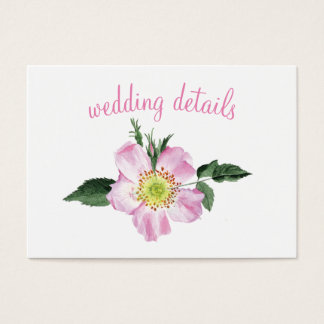 Watercolor Pink Wild Roses wedding details cards