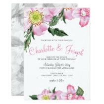 Watercolor Pink Wild Roses Wedding Invitations