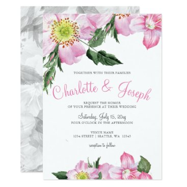 Watercolor Pink Wild Roses Wedding Invitations