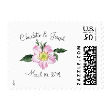 Watercolor Pink Wild Roses Wedding postage