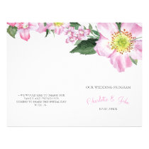 Watercolor Pink Wild Roses Wedding programs