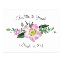 Watercolor Pink Wild Roses Wedding rsvp Postcard