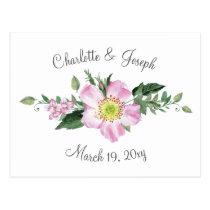 Watercolor Pink Wild Roses Wedding rsvp Postcard