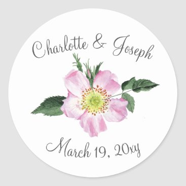 Watercolor Pink Wild Roses Wedding stickers