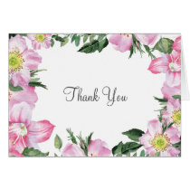 Watercolor Pink Wild Roses Wedding thank You Card