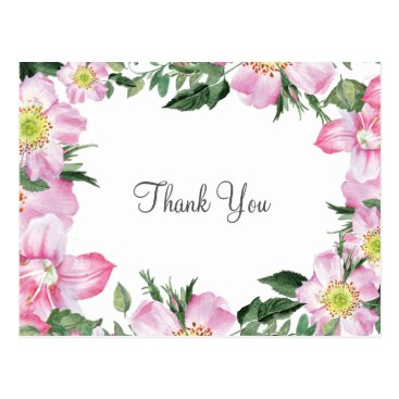 Watercolor Pink Wild Roses Wedding Thank You notes Postcard