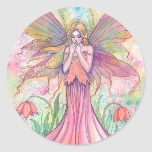 Watercolor PInk Wildflower Fairy Fantasy Art Round Stickers