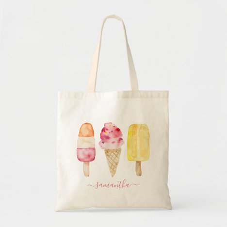 Watercolor Pink Yellow Popsicle Ice Cream Tote Bag