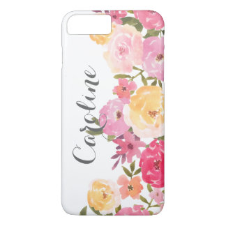 Watercolor Pink Yellow Whimsical Flowers Girly iPhone 8 Plus/7 Plus Case