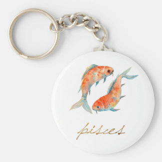 Watercolor Pisces Fish Basic Round Button Keychain
