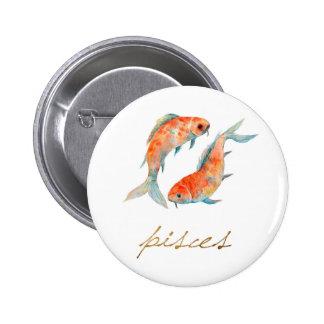 Watercolor Pisces Fish Button