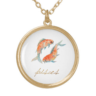 Watercolor Pisces Fish Gold Plated Necklace
