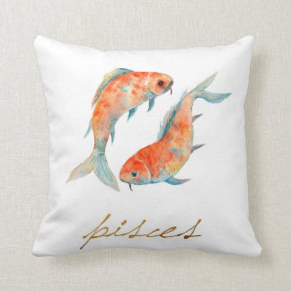 Watercolor Pisces Fish Throw Pillow