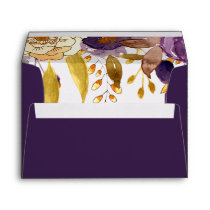 Watercolor Plum Floral Liner Wedding envelopes