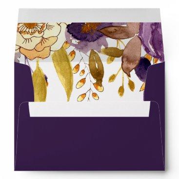 Watercolor Plum Floral Liner Wedding envelopes