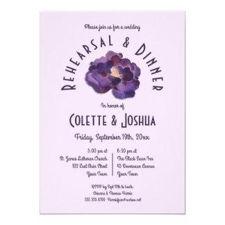 Watercolor Plum Floral Rehearsal Dinner Invitation