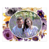 Watercolor Plum Purple Floral save the date Postcard