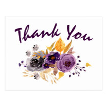 Watercolor Plum Purple Floral Thank You notes Postcard