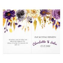 Watercolor Plum Purple Floral Wedding programs