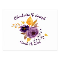 Watercolor Plum Purple Floral Wedding rsvp Postcard