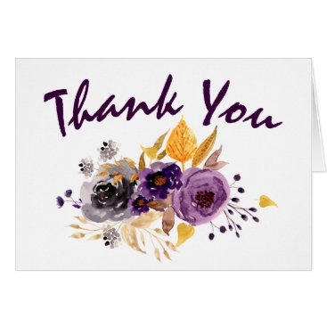 Watercolor Plum Purple Floral Wedding Tthank You Card