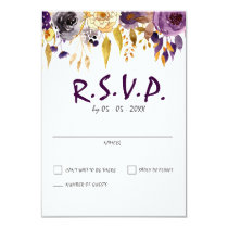 Watercolor Plum Purple Modern Wedding rsvp Card