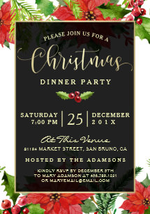 christmas dinner invitations zazzle