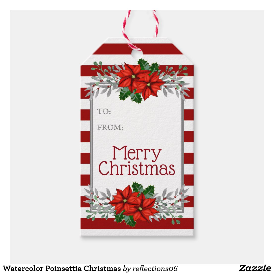 Watercolor Poinsettia Christmas Gift Tags