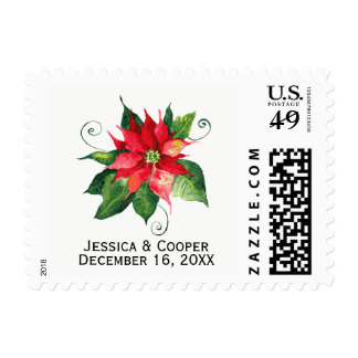 Watercolor Poinsettia - Holiday Postage Stamp