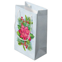 Watercolor Poinsettia Holly Evergreen Christmas Small Gift Bag