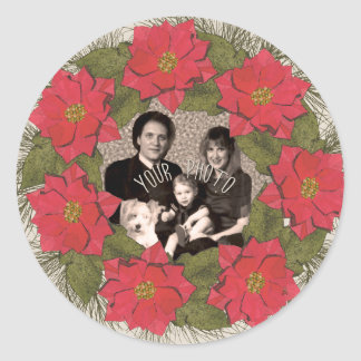Watercolor Poinsettia Wreath with Your Photo Classic Round Sticker