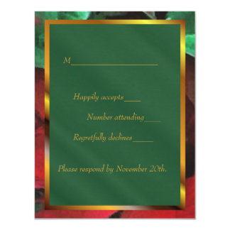 Watercolor Poinsettias Holiday Wedding RSVP Card