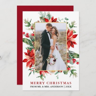 Watercolor Poinsettias Newlywed Christmas Gold Holiday Card