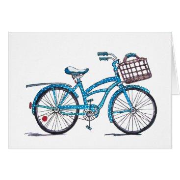 Beach Themed Watercolor Polka Dot Bicycle Card