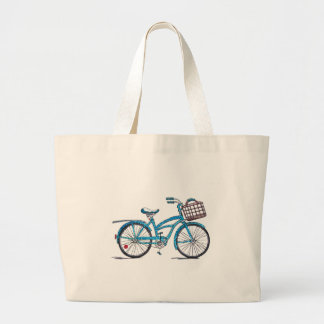Watercolor Polka Dot Bicycle Large Tote Bag