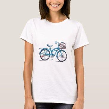 Beach Themed Watercolor Polka Dot Bicycle T-Shirt