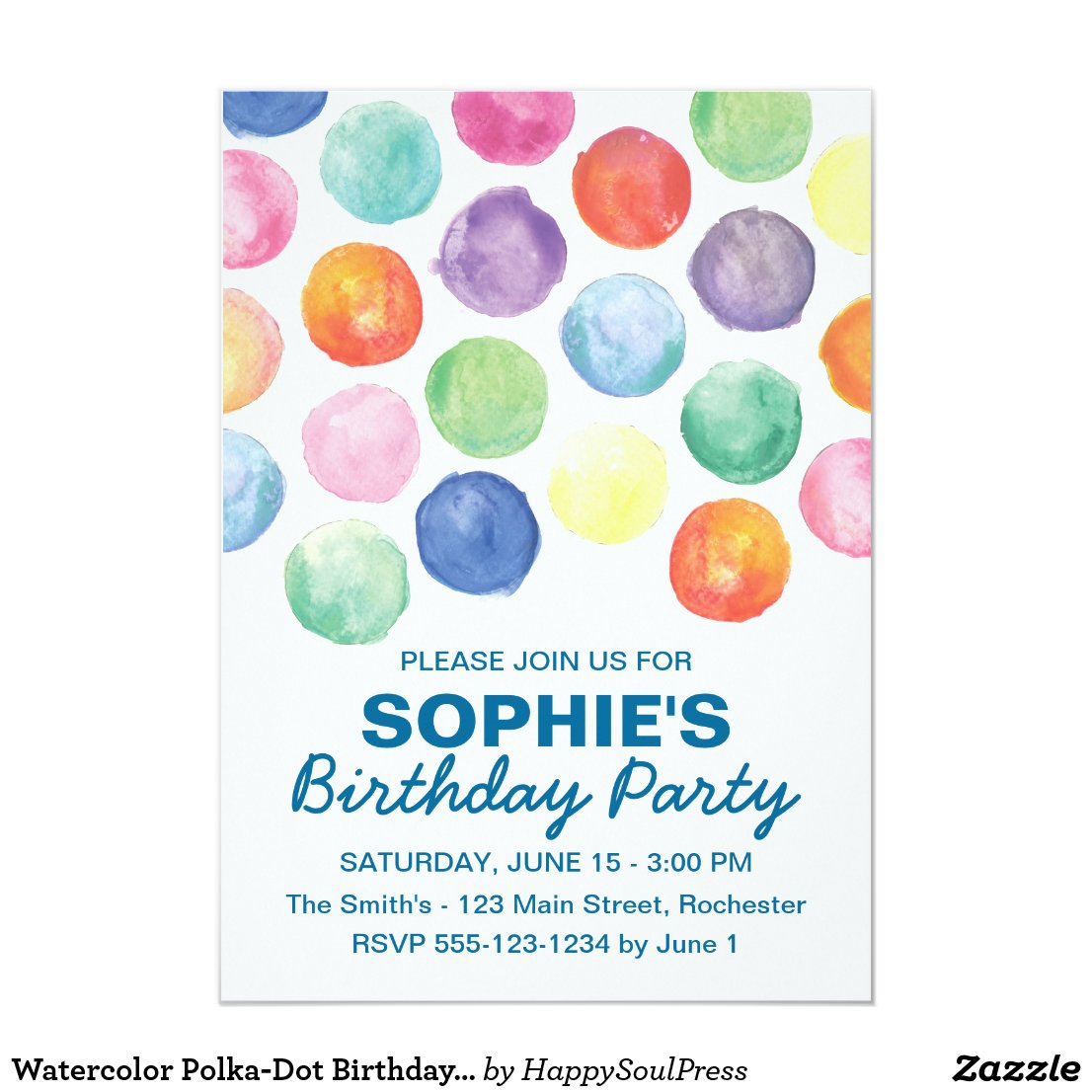 Watercolor Polka-Dot Birthday Invitation